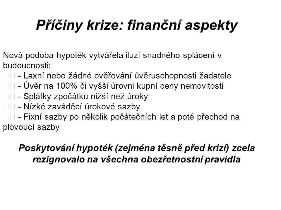 Příčiny krize: finanční aspekty Nová podoba hypoték vytvářela iluzi snadného splácení v budoucnosti: - Laxní nebo žádné ověřování úvěruschopnosti žada