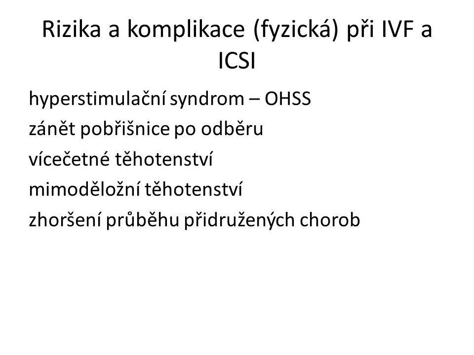 Rizika a komplikace (fyzická) při IVF a ICSI hyperstimulační syndrom – OHSS zánět pobřišnice po odběru vícečetné těhotenství mimoděložní těhotenství z