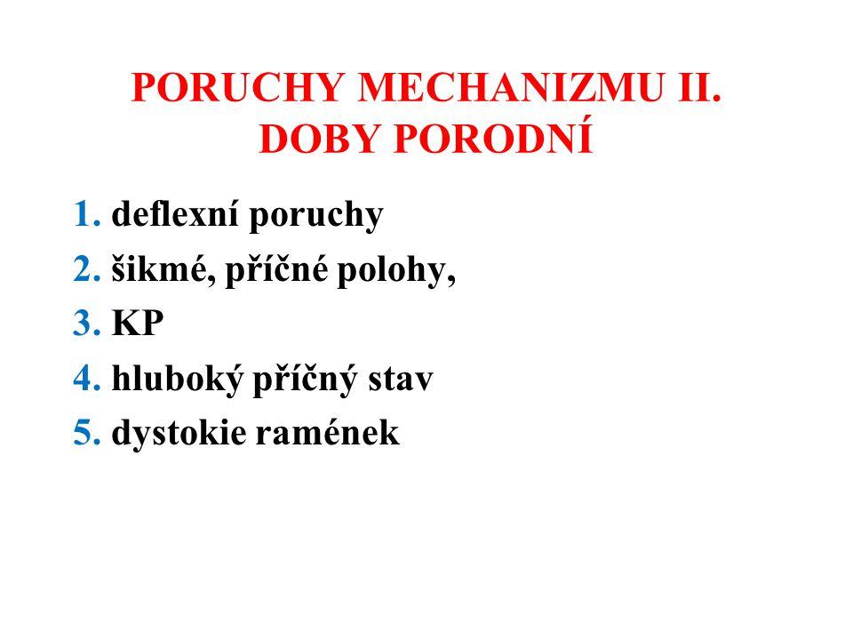 PORUCHY MECHANIZMU II. DOBY PORODNÍ 1. deflexní poruchy 2. šikmé, příčné polohy, 3. KP 4. hluboký příčný stav 5. dystokie ramének