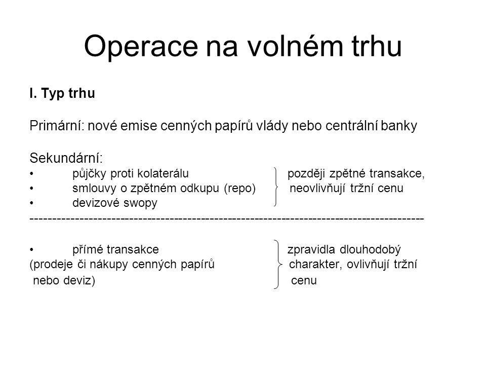Operace na volném trhu I. Typ trhu Primární: nové emise cenných papírů vlády nebo centrální banky Sekundární: půjčky proti kolaterálu později zpětné t