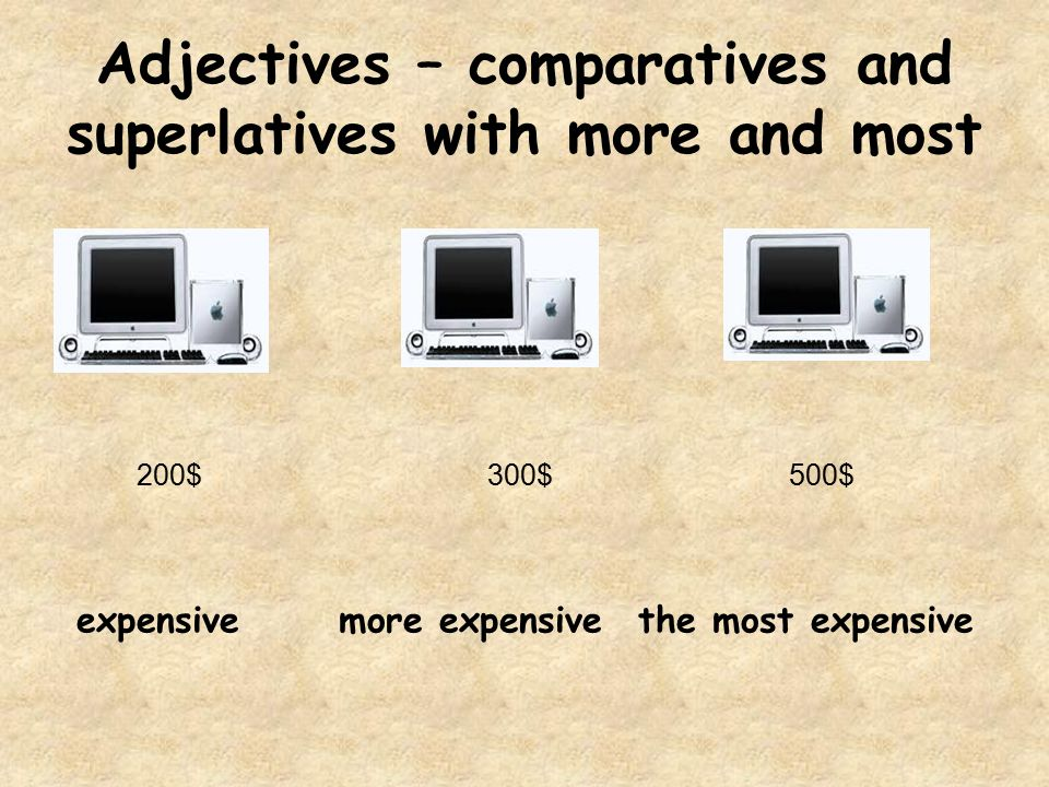 Adjectives – comparatives and superlatives with more and most 200$300$500$ expensive more expensive the most expensive