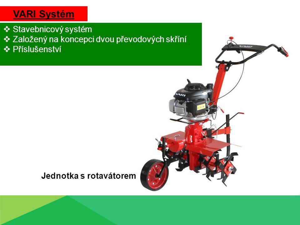 VARI Systém  Stavebnicový systém  Založený na koncepci dvou převodových skříní  Příslušenství Jednotka s rotavátorem