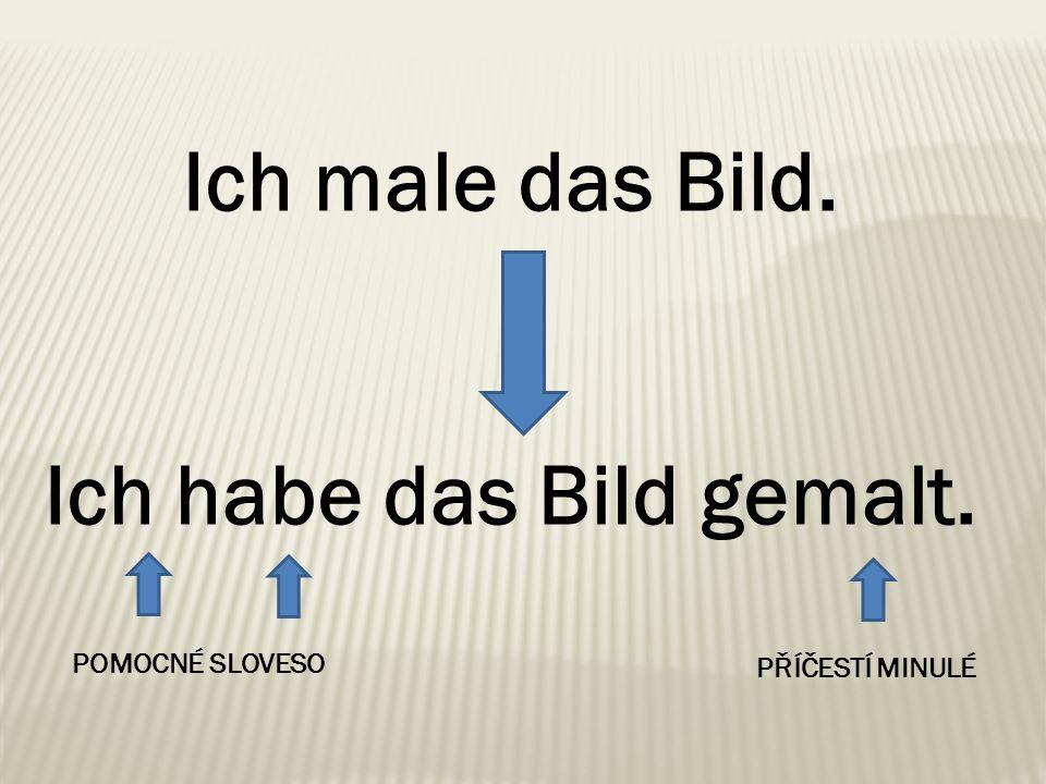 Příčestí minulé se tvoří pomocí předpony ge- a přípony -t nebo - et (u sloves končících na -t nebo -d): machen (dělat) – gemacht.