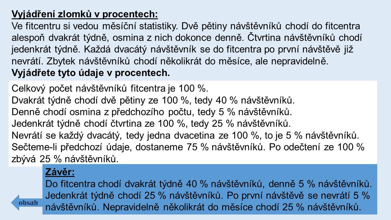 Vyjádření zlomků v procentech: Ve fitcentru si vedou měsíční statistiky.