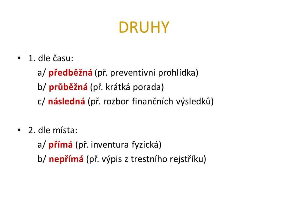 DRUHY 1. dle času: a/ předběžná (př. preventivní prohlídka) b/ průběžná (př. krátká porada) c/ následná (př. rozbor finančních výsledků) 2. dle místa: