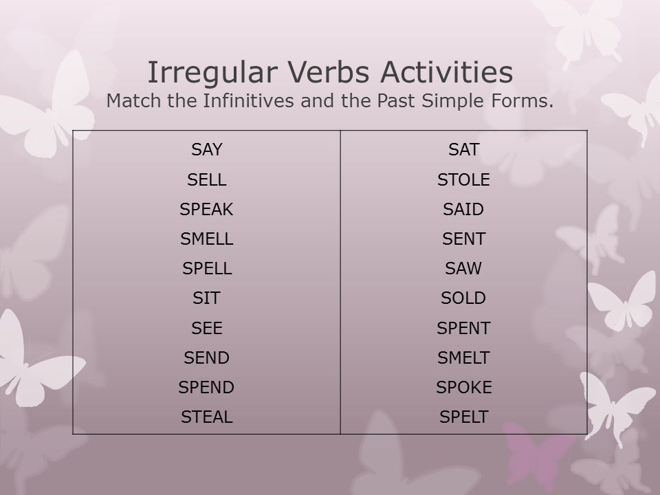Irregular Verbs Activities Match the Infinitives and the Past Simple Forms.