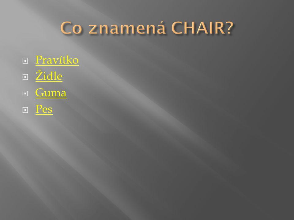  Pravítko Pravítko  Židle Židle  Guma Guma  Pes Pes