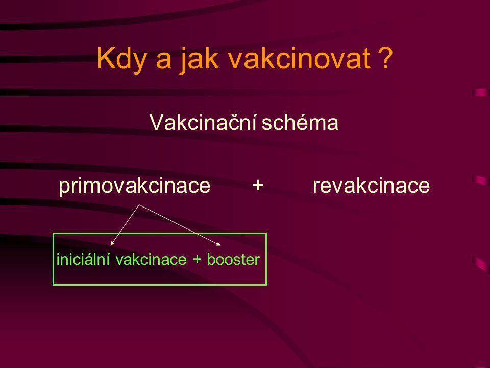 Kdy a jak vakcinovat ? Vakcinační schéma primovakcinace + revakcinace iniciální vakcinace + booster