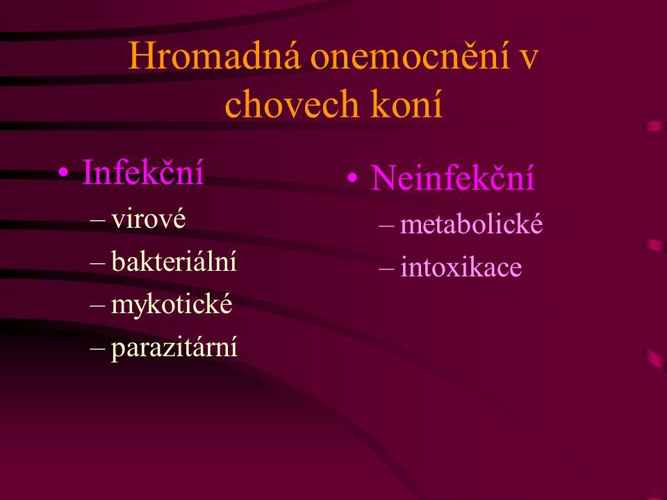 Hromadná onemocnění v chovech koní Infekční –virové –bakteriální –mykotické –parazitární Neinfekční –metabolické –intoxikace