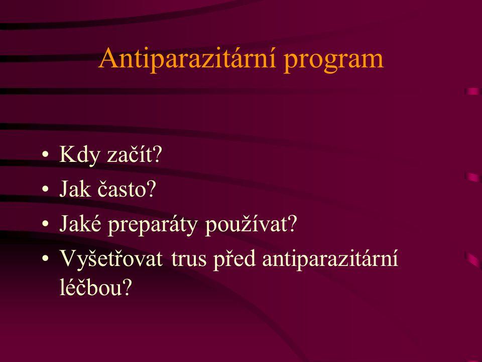 Antiparazitární program Kdy začít? Jak často? Jaké preparáty používat? Vyšetřovat trus před antiparazitární léčbou?
