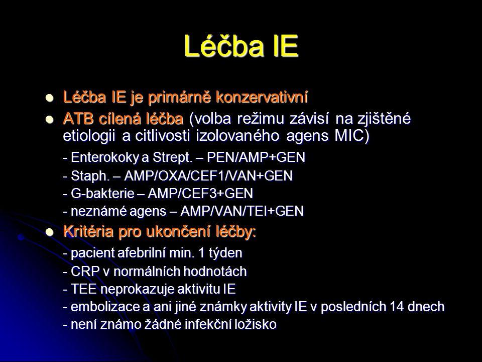 Léčba IE Léčba IE je primárně konzervativní Léčba IE je primárně konzervativní ATB cílená léčba (volba režimu závisí na zjištěné etiologii a citlivost