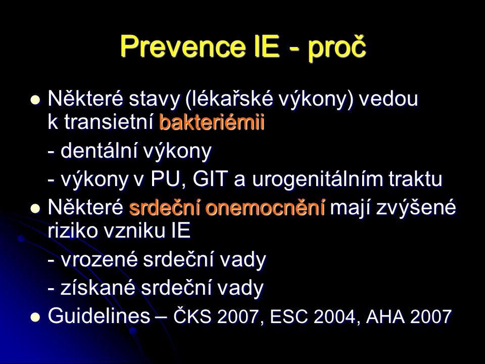 Prevence IE - proč Některé stavy (lékařské výkony) vedou k transietní bakteriémii Některé stavy (lékařské výkony) vedou k transietní bakteriémii - den