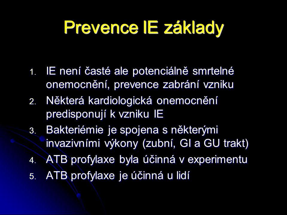 Prevence IE základy 1. IE není časté ale potenciálně smrtelné onemocnění, prevence zabrání vzniku 2. Některá kardiologická onemocnění predisponují k v