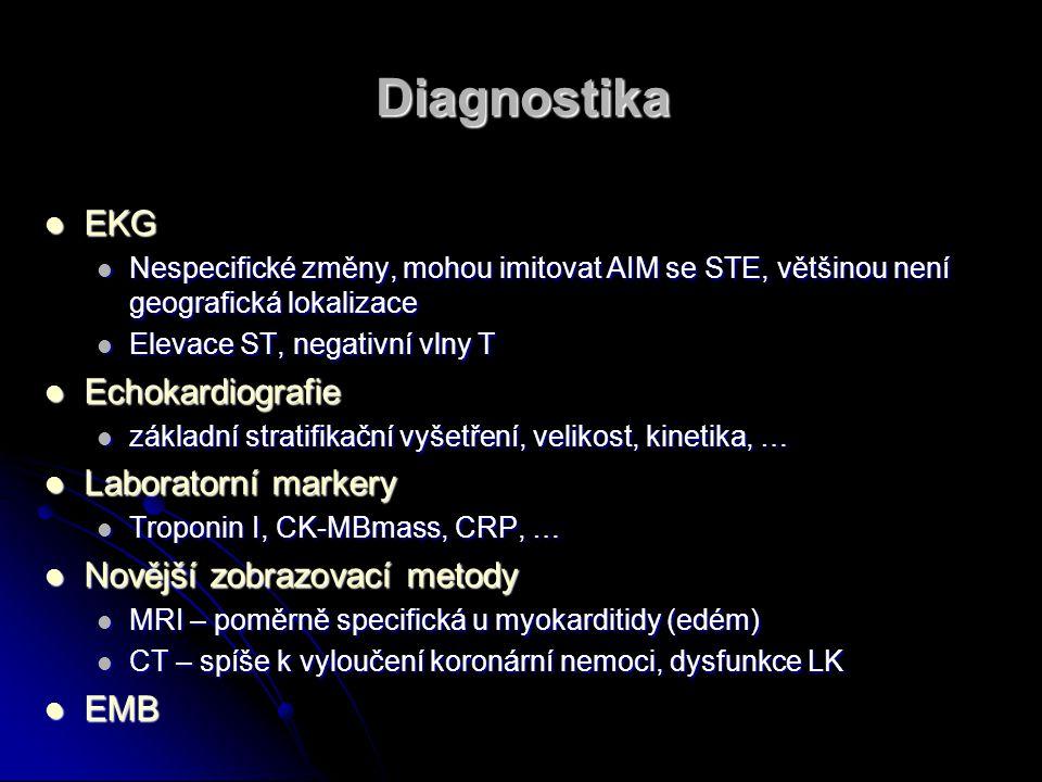 Diagnostika EKG EKG Nespecifické změny, mohou imitovat AIM se STE, většinou není geografická lokalizace Nespecifické změny, mohou imitovat AIM se STE,