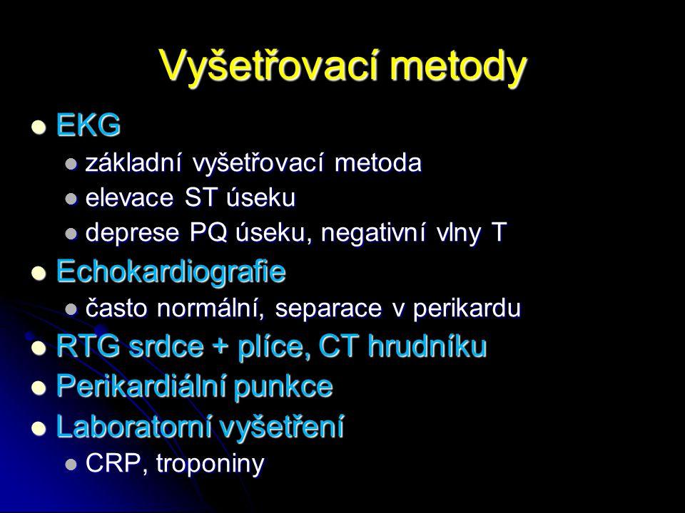 Vyšetřovací metody EKG EKG základní vyšetřovací metoda základní vyšetřovací metoda elevace ST úseku elevace ST úseku deprese PQ úseku, negativní vlny