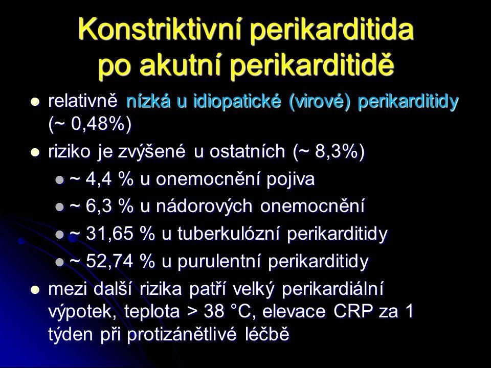 Konstriktivní perikarditida po akutní perikarditidě relativně nízká u idiopatické (virové) perikarditidy (~ 0,48%) relativně nízká u idiopatické (viro