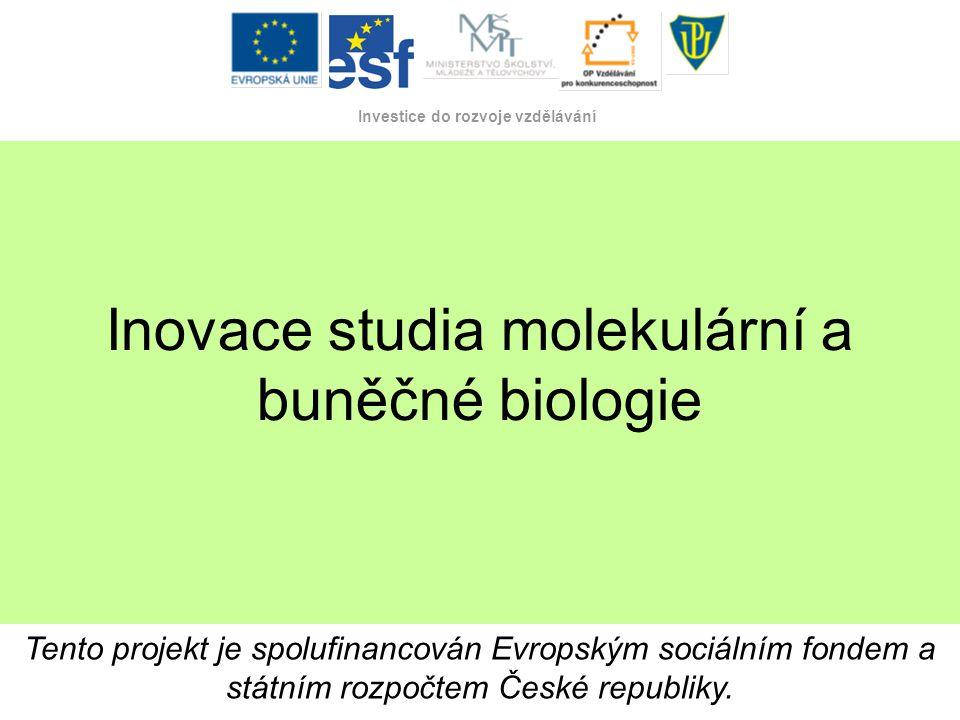 Tento projekt je spolufinancován Evropským sociálním fondem a státním rozpočtem České republiky. Investice do rozvoje vzdělávání Inovace studia moleku