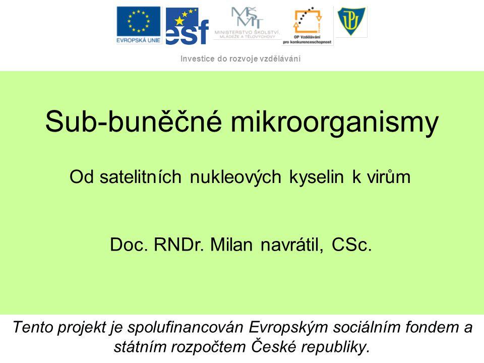 Tento projekt je spolufinancován Evropským sociálním fondem a státním rozpočtem České republiky. Investice do rozvoje vzdělávání Sub-buněčné mikroorga