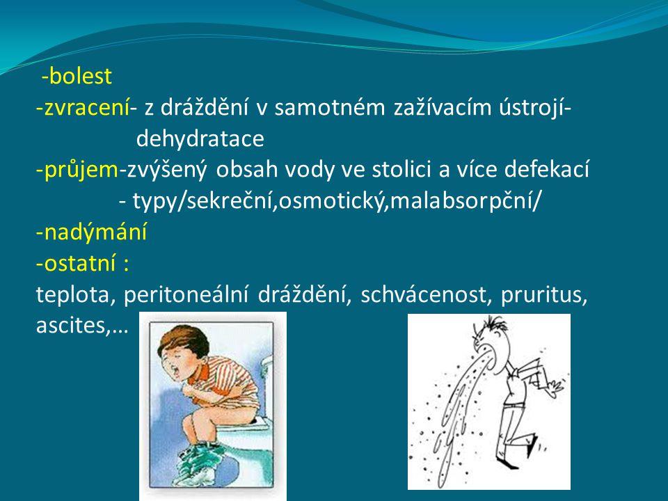 -bolest -zvracení- z dráždění v samotném zažívacím ústrojí- dehydratace -průjem-zvýšený obsah vody ve stolici a více defekací - typy/sekreční,osmotick