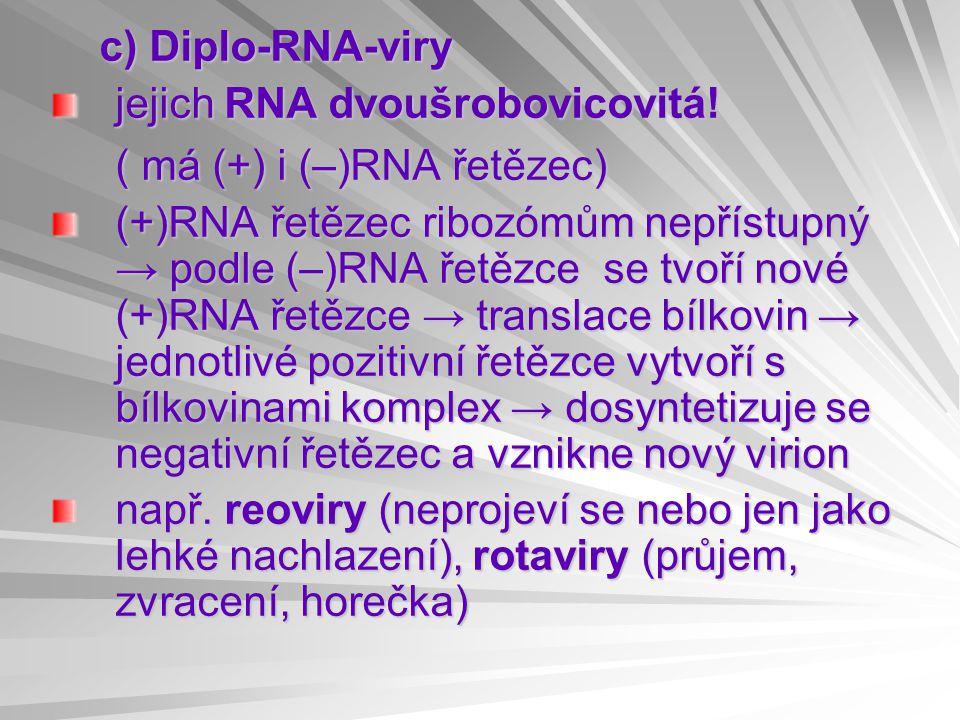 c) Diplo-RNA-viry jejich RNA dvoušrobovicovitá.