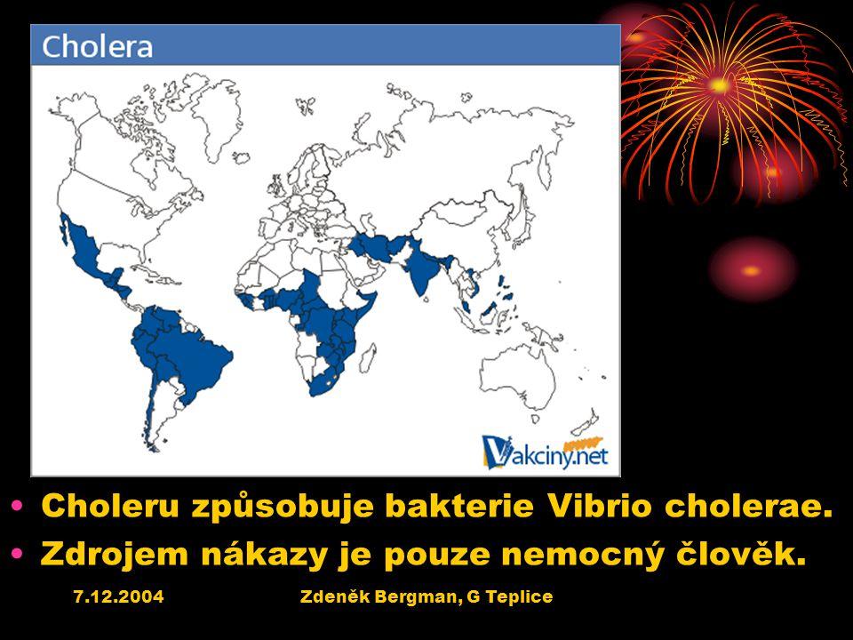 7.12.2004Zdeněk Bergman, G Teplice Choleru způsobuje bakterie Vibrio cholerae. Zdrojem nákazy je pouze nemocný člověk.