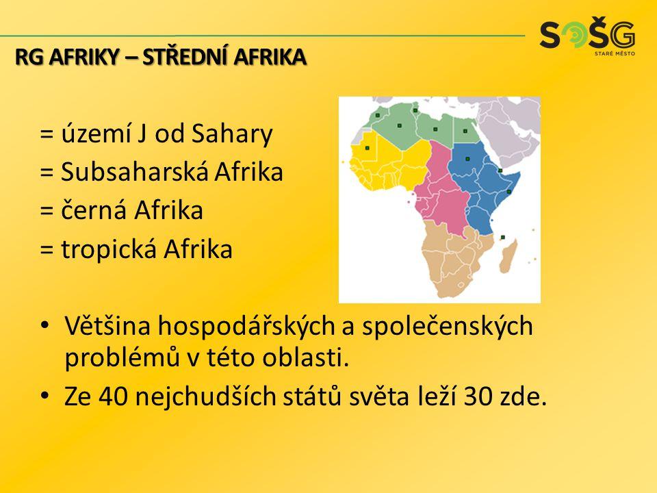 = území J od Sahary = Subsaharská Afrika = černá Afrika = tropická Afrika Většina hospodářských a společenských problémů v této oblasti. Ze 40 nejchud