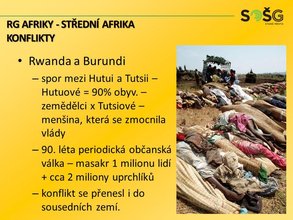 Rwanda a Burundi – spor mezi Hutui a Tutsii – Hutuové = 90% obyv. – zemědělci x Tutsiové – menšina, která se zmocnila vlády – 90. léta periodická obča