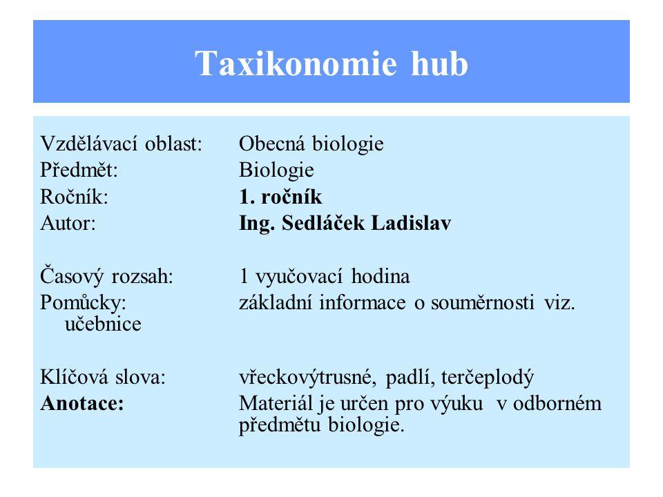 Taxikonomie hub Vzdělávací oblast:Obecná biologie Předmět:Biologie Ročník:1.