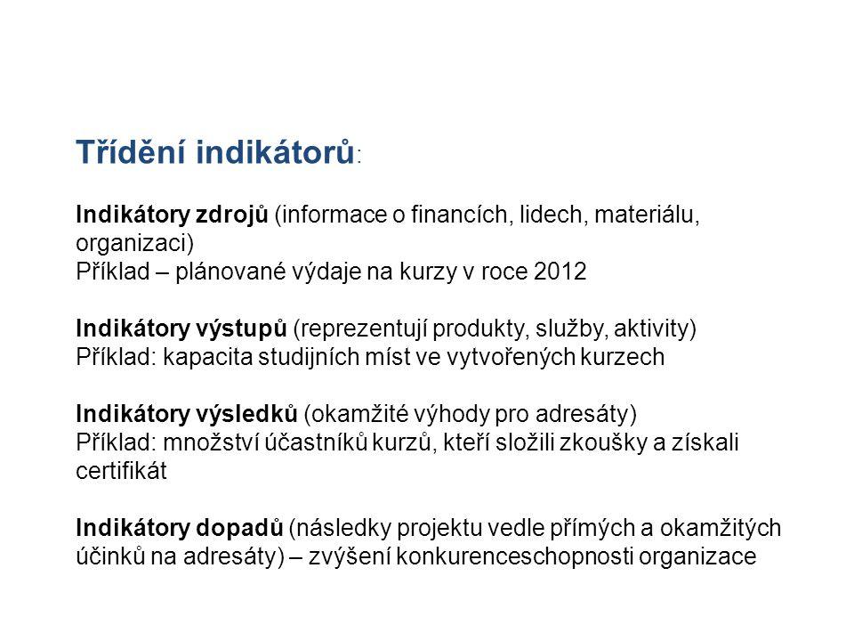 Třídění indikátorů : Indikátory zdrojů (informace o financích, lidech, materiálu, organizaci) Příklad – plánované výdaje na kurzy v roce 2012 Indikáto