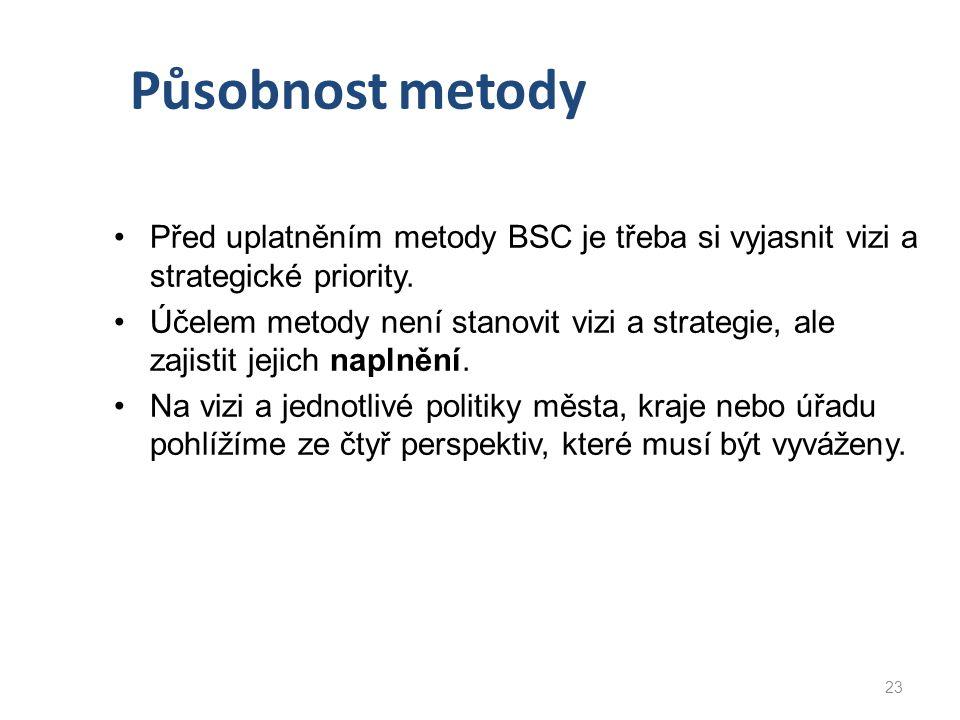 Působnost metody Před uplatněním metody BSC je třeba si vyjasnit vizi a strategické priority. Účelem metody není stanovit vizi a strategie, ale zajist