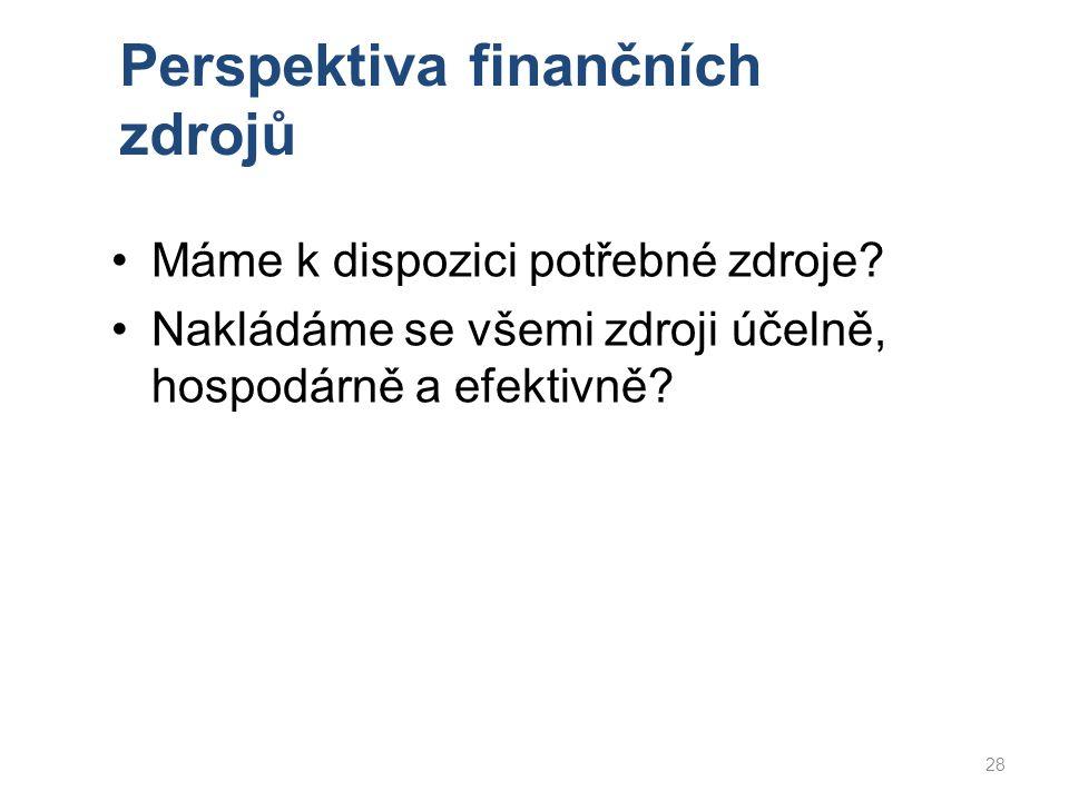 Perspektiva finančních zdrojů Máme k dispozici potřebné zdroje? Nakládáme se všemi zdroji účelně, hospodárně a efektivně? 28