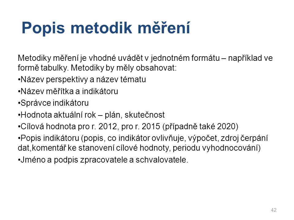 Popis metodik měření Metodiky měření je vhodné uvádět v jednotném formátu – například ve formě tabulky. Metodiky by měly obsahovat: Název perspektivy