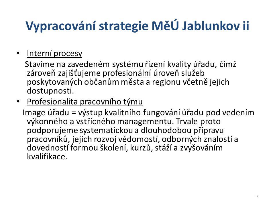 Vypracování strategie MěÚ Jablunkov ii Interní procesy Stavíme na zavedeném systému řízení kvality úřadu, čímž zároveň zajišťujeme profesionální úrove