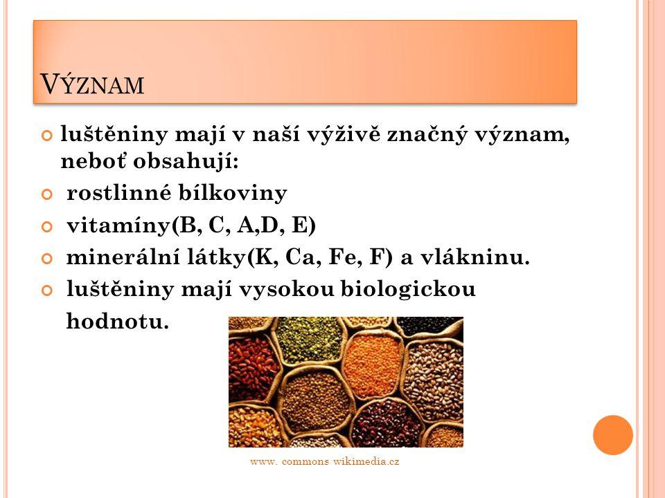 V ÝZNAM luštěniny mají v naší výživě značný význam, neboť obsahují: rostlinné bílkoviny vitamíny(B, C, A,D, E) minerální látky(K, Ca, Fe, F) a vlákninu.