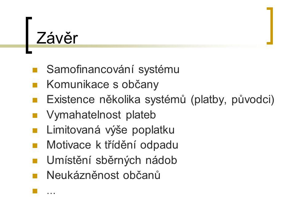 Závěr Samofinancování systému Komunikace s občany Existence několika systémů (platby, původci) Vymahatelnost plateb Limitovaná výše poplatku Motivace