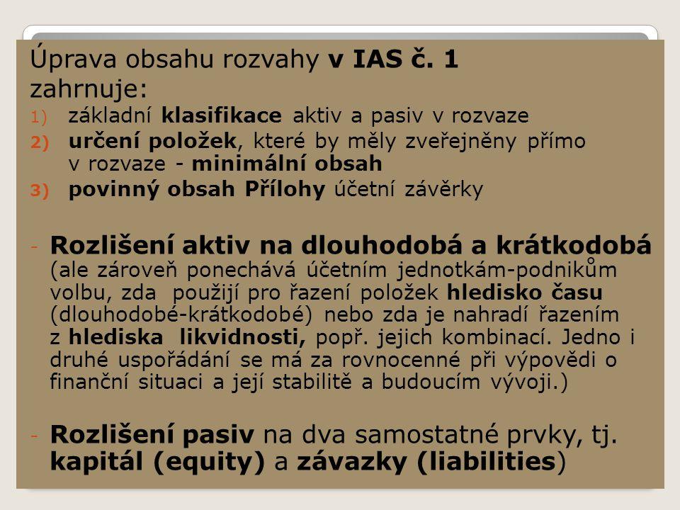 Úprava obsahu rozvahy v IAS č.