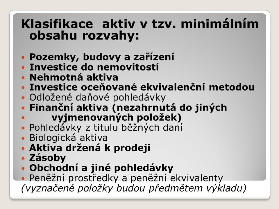 Klasifikace aktiv v tzv.