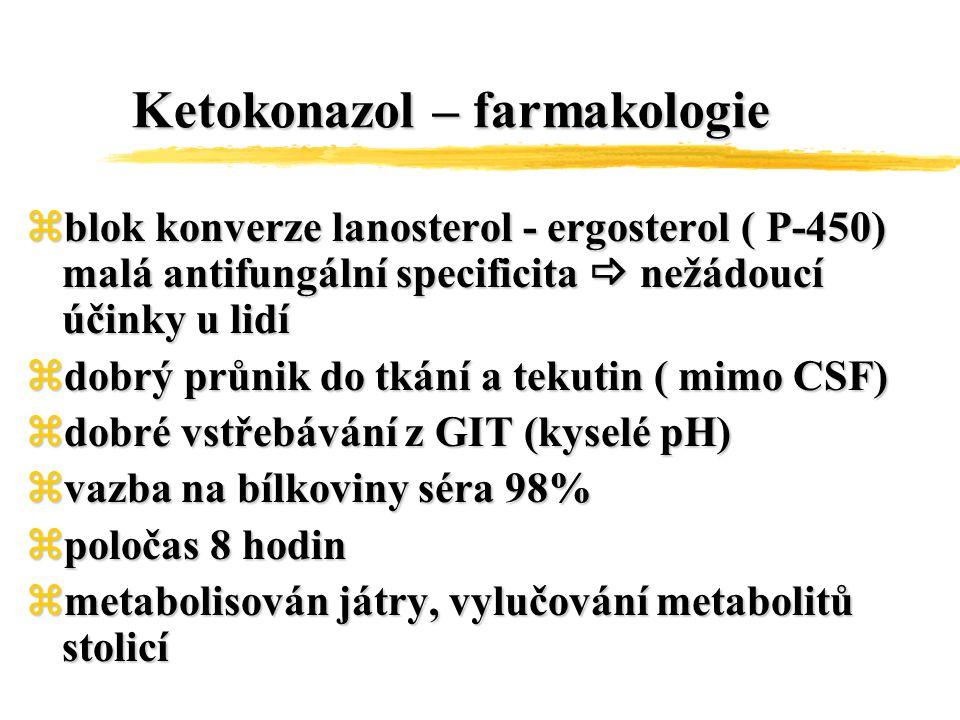Ketokonazol – farmakologie zblok konverze lanosterol - ergosterol ( P-450) malá antifungální specificita  nežádoucí účinky u lidí zdobrý průnik do tk