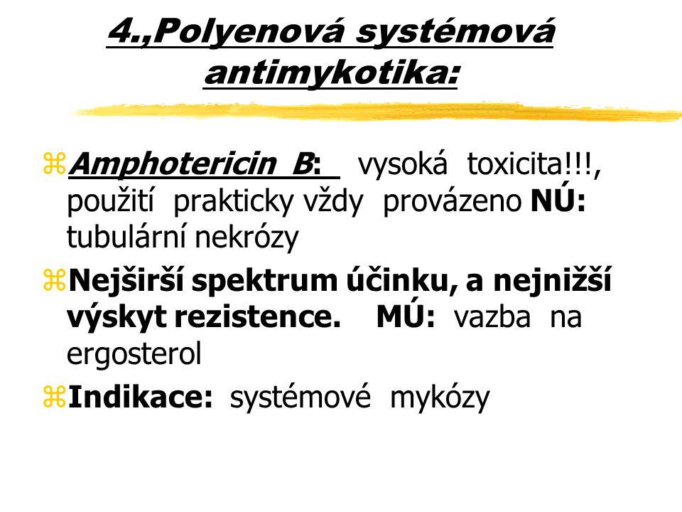 Amfotericin B – farmakologie zcílová molekula ergosterol zméně antifugálně specifický (cholesterol  toxicita) zrelativně špatný průnik do tkání a tekutin (lépe infikované) zprůnik do mozku a CSF prakticky nulový nevstřebává se z GIT vylučován nezměněn žlučí, nemetabolisuje zvazba na bílkovinu 90-95% (+ erytrocyty + cholesterol) zsérový poločas 18-24 hodin, poločas eliminace 15 dní