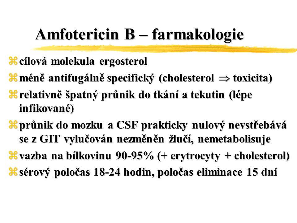 Amfotericin B – toxicita zAkutní projevy:horečka, třesavka, rigor, nausea, zvracení, bolesti hlavy, svalstva, kloubů v.s.