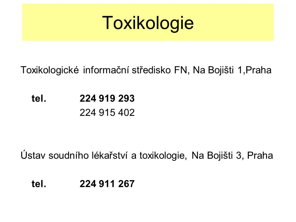 Methemoglobinizující látky II Klinický obraz Akutní - Stimulační účinek na CNS při nižší expozici - Cyanóza, tachykardie, únava - 10-30% - Porucha vědomí až smrt - - 50-70% Chronický - Polyglobulie v důsledku chronické hypoxie - Hemoragická cystitis Léčba - Metylénová modř - Toluidinová modř - Kyselina askorbová