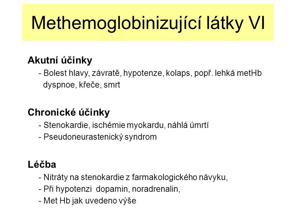 Methemoglobinizující látky VI Akutní účinky - Bolest hlavy, závratě, hypotenze, kolaps, popř.