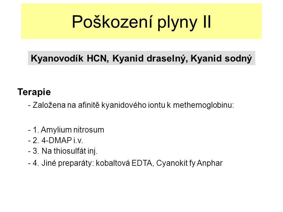Poškození plyny II Terapie - Založena na afinitě kyanidového iontu k methemoglobinu: - 1.