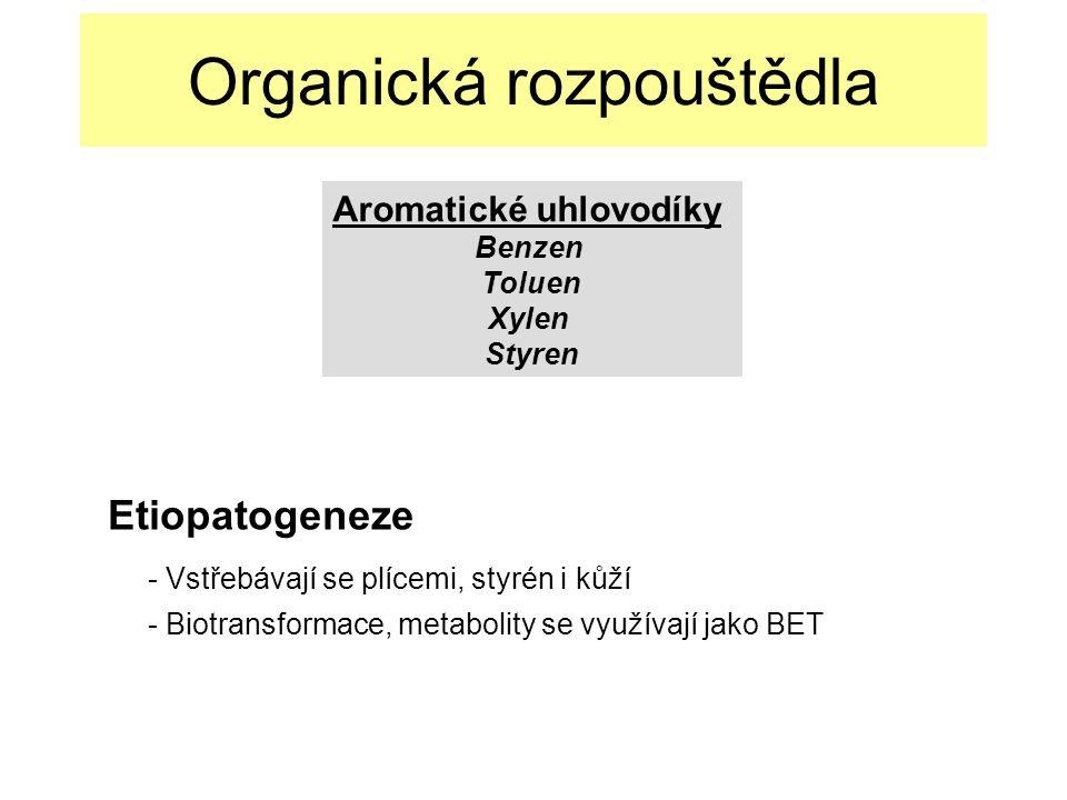 Etiopatogeneze - Vstřebávají se plícemi, styrén i kůží - Biotransformace, metabolity se využívají jako BET Organická rozpouštědla Aromatické uhlovodíky Benzen Toluen Xylen Styren