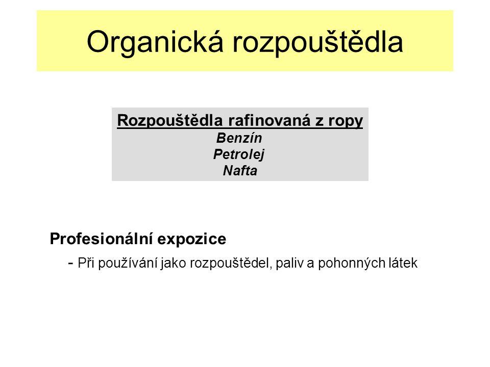 Organická rozpouštědla Profesionální expozice - Při používání jako rozpouštědel, paliv a pohonných látek Rozpouštědla rafinovaná z ropy Benzín Petrolej Nafta