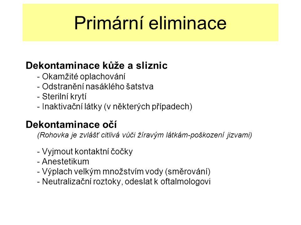 Primární eliminace Dekontaminace kůže a sliznic - Okamžité oplachování - Odstranění nasáklého šatstva - Sterilní krytí - Inaktivační látky (v některých případech) Dekontaminace očí (Rohovka je zvlášť citlivá vůči žíravým látkám-poškození jizvami) - Vyjmout kontaktní čočky - Anestetikum - Výplach velkým množstvím vody (směrování) - Neutralizační roztoky, odeslat k oftalmologovi