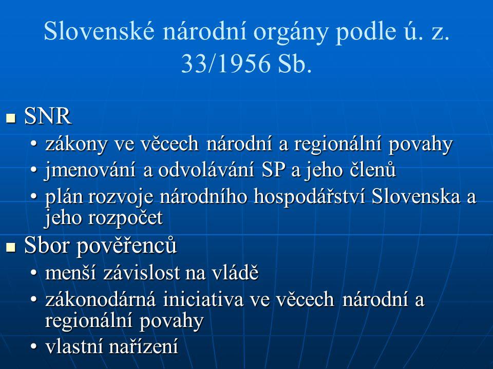 Slovenské národní orgány podle ú.z. 33/1956 Sb.