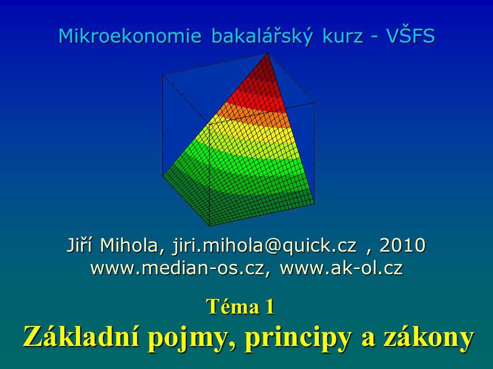 Základní pojmy, principy a zákony Mikroekonomie bakalářský kurz - VŠFS Jiří Mihola, jiri.mihola@quick.cz, 2010 www.median-os.cz, www.ak-ol.cz Téma 1