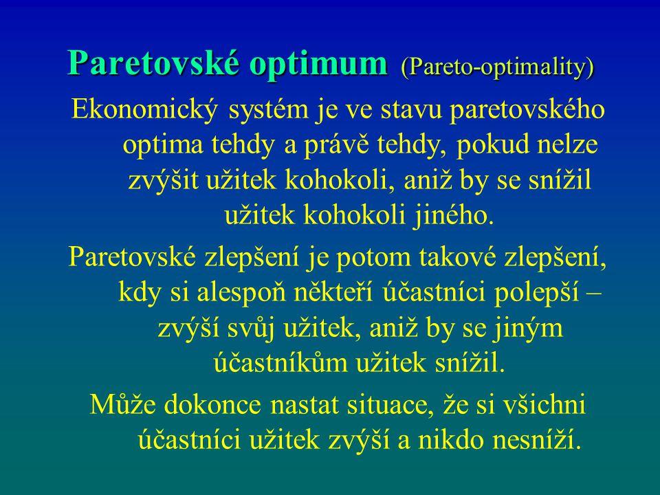 Paretovské optimum (Pareto-optimality) Ekonomický systém je ve stavu paretovského optima tehdy a právě tehdy, pokud nelze zvýšit užitek kohokoli, aniž
