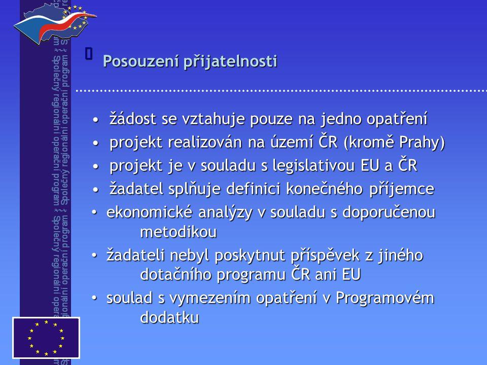 Posouzení přijatelnosti  žádost se vztahuje pouze na jedno opatření žádost se vztahuje pouze na jedno opatření projekt realizován na území ČR (kromě Prahy) projekt realizován na území ČR (kromě Prahy) projekt je v souladu s legislativou EU a ČR projekt je v souladu s legislativou EU a ČR žadatel splňuje definici konečného příjemce žadatel splňuje definici konečného příjemce ekonomické analýzy v souladu s doporučenou metodikou ekonomické analýzy v souladu s doporučenou metodikou žadateli nebyl poskytnut příspěvek z jiného dotačního programu ČR ani EU žadateli nebyl poskytnut příspěvek z jiného dotačního programu ČR ani EU soulad s vymezením opatření v Programovém dodatku soulad s vymezením opatření v Programovém dodatku